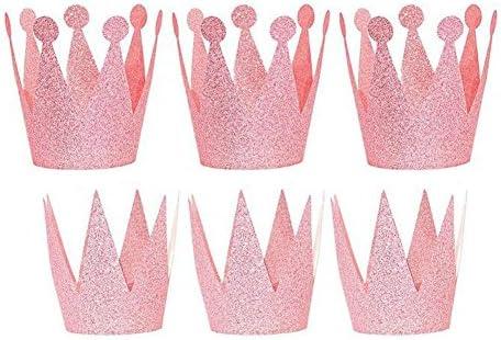 ANGTUO - Conjunto de 6 coronas para cumpleaños para niños y niñas, rosa