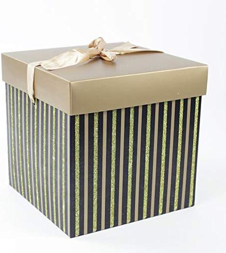 Cajas de regalo y portaobjetos cuadrados de cartón color negro y oro con purpurina varios tamaños 1 (caja tamaño 11 x 11 cm): Amazon.es: Hogar