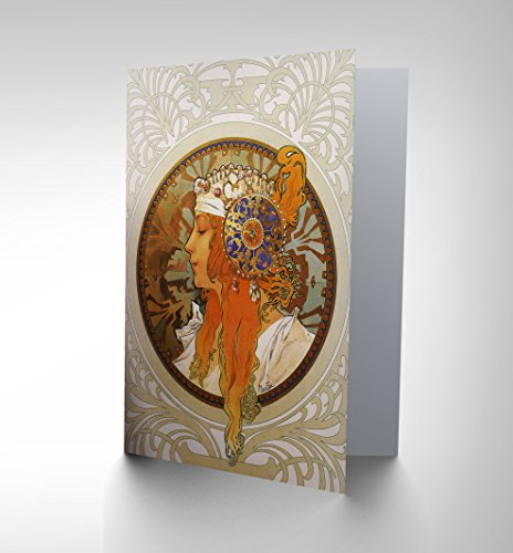 NEW ALPHONSE MUCHA HEADDRESS CIRCLE HIGH OLD MASTER GREETINGS CARD (Fast Delivery Dresses Australia)