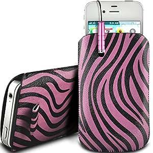 N4U Online - Nokia Asha 305 protección PU Zebra Diseño deslizamiento cordón tirador de la cremallera en la caja de la bolsa con cierre rápido y Mini Stylus Pen - Rosa