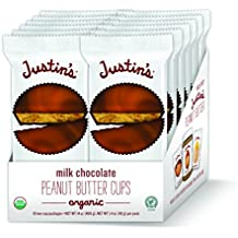 Organic Milk Chocolate Peanut Butter Cups by Justin's, Rainforest Alliance Certified Cocoa, Gluten-free, Responsibly Sourced, 12 Packs of 2-Cups each