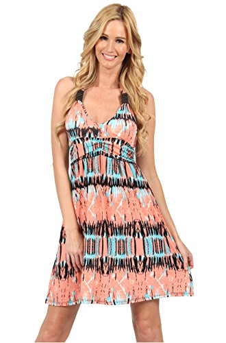 Ingear Studded Empire Halter Dress (Medium, Coral) - Coral Halter Dress