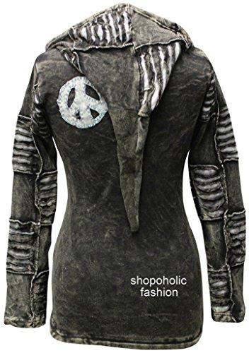 Shopoholic Mode Femme 100% Coton Doux Emo Punky Gothique Veste À Capuche
