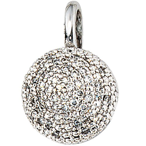 Pendentif en or blanc 585 50 0,25ct diamants.
