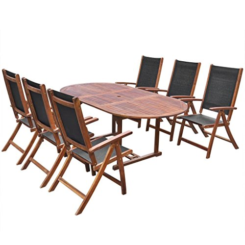 Fesjoy 7 Pieces Patio Dining Set 6 Seater Garden Dining Table Set 6 Folding Chairs Acacia Wood Extendable Table Conservatory Outdoor Furniture Set (6 Extendable Table Dining Seater Chairs And)