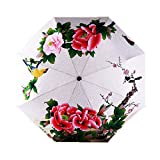 Estwell Folding Compact Outdoor Travel Umbrella Windproof UV Protection Sun Rain Umbrella with Art Print (Red Flower)