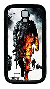 Samsung Galaxy S4 Case,Customize Ultra Slim Military Burning Soldier Soft Rubber TPU Black Case Bumper Cover for S4