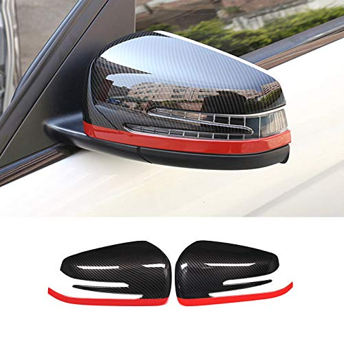 HOTRIMWORLD ABS Carbon Fiber Style Rearview Mirror Frame Trim Cover 2pcs for Mercedes-Benz C Class W204 S204 2010-2013