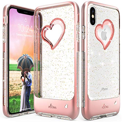 Vena iPhone Xs Max Case, [vLove] Gold Glitter Bling Heart Case Cover Slim Dual Layer Protection Compatible with Apple iPhone Xs Max - Rose Gold/Clear