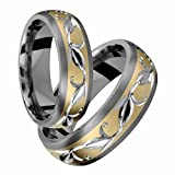 Alain Raphael Titanium and 14k Yellow Gold Ring With Sand Paper Finish & 7mm Wide Wedding Band For Him and Here