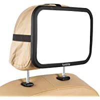 Funbliss Baby car Mirror Most Stable Backseat Mirror with Premium Matte Finish-Super Clear PMMA Material Mirror-Safe, Secure and Shatterproof,Black
