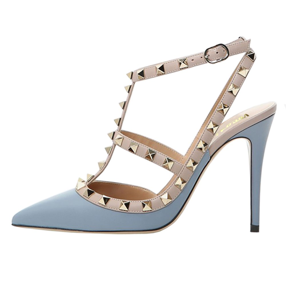 bluee(matte) VOCOSI Women's Pointed Toe Studded Ankle Strap Slingback Stiletto Heels Dress Party Wedding Rivets Sandals
