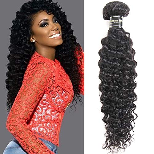 Fastyle Hair Brazilian Deep Wave Hair 1 Bundle Brazilian Hair 8A 100% Unprocessed Deep Wave Virgin Hair Extensions 100g Per Bundle Natural Black(12inch) from Fastyle Hair