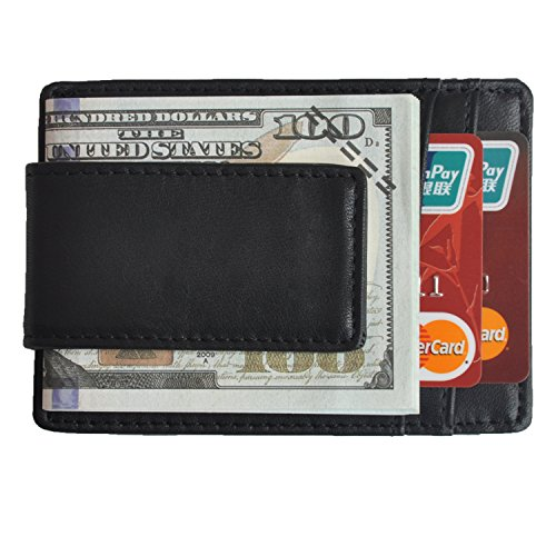 - Volcanic Rock Slim Minimalist Leather Front Pocket Wallets with Money Clip Thin Credit Card Holder(8002-Black)