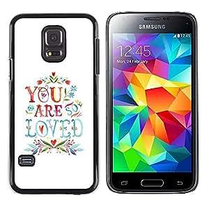FECELL CITY // Duro Aluminio Pegatina PC Caso decorativo Funda Carcasa de Protección para Samsung Galaxy S5 Mini, SM-G800, NOT S5 REGULAR! // Are Love Quote Couples Valentines