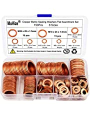Muhize 150PCS 8 Sizes Copper Metric Sealing Washers Flat Washers Assortment Kit (M6 M8 M10 M12 M14 M16 M18 M20)