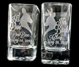 Set of 2 Her Buck His Doe Personalized Wedding Shot Glass Groom Bride Bachelor Bachelorette Party Favors Custom Country Weddings Gift Husband Wife Birthday Present