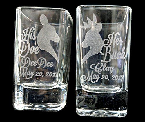 Set of 2 Her Buck His Doe Personalized Wedding Shot Glass Groom Bride Bachelor Bachelorette Party Favors Custom Country Weddings Gift Husband Wife Birthday Present -