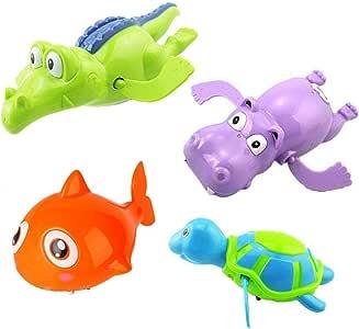 4Pcs Random Color Clockwork Bath Toy Wind Up Bathing Swimming Tub Pool Animal Toys for Baby Kids Children