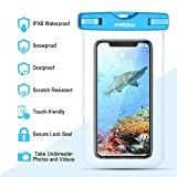 "Mpow Waterproof Case, Universal IPX8 Waterproof Phone Pouch Underwater Phone Case Bag for iPhone X/8/8P/7/7P, Samsung Galaxy S9/S9P/S8/S8P/Note 8, Google Pixel/LG/HTC up to 6.0"" (Blue Orange Green)"