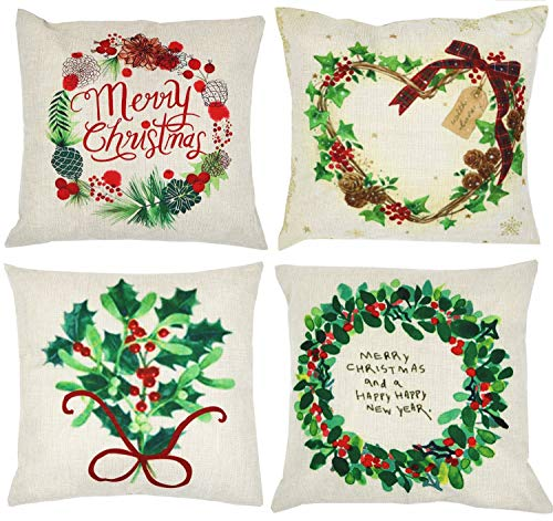 ZUEXT Pack of 4 Christmas Wreath Decorative Throw Pillow Covers 18x18 Inch, Merry Christmas Square Outdoor Cushion Cover Pillow Covers, Soft XMAS Decor Pillowcase for Couch Sofa Bedroom Car