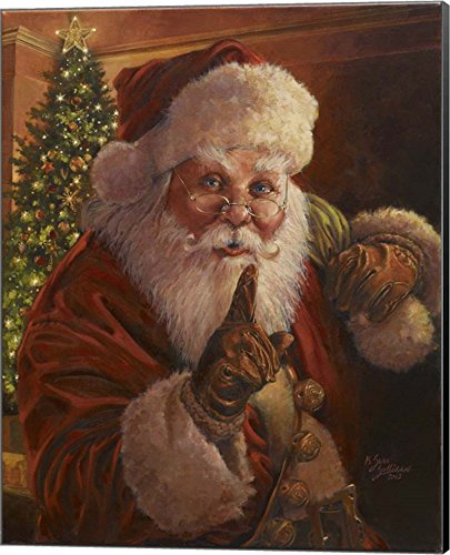 - Santa Shhhh by Jason Bullard Canvas Art Wall Picture, Museum Wrapped with Black Sides, 16 x 20 inches