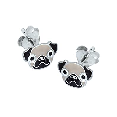 Dew Sterling Silver Pug Face Stud Earrings 4861HP eo81Wb