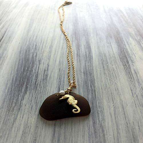 Seahorse Pendant Beach Glass Necklace Sea Glass Pendant Eco Friendly Jewelry Beach Wedding Lake Erie Ohio