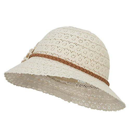 - Jeanne Simmons Girl's Lace Flower Bucket Hat - Cream OSFM