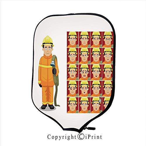 Neoprene Material,Durable Quality Paddle Cover,Firefighter Costume Vector Illustration (Size:8.23