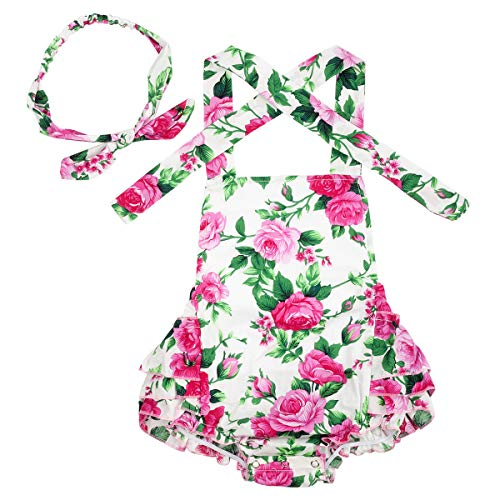 Slowera Baby Girls 2pcs Sets Cotton Ruffles Romper Outfits Clothes (M: 12 Months, Pink Rose) ()