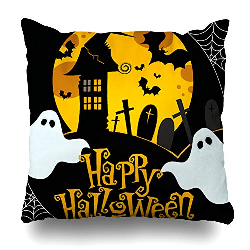 WAYATO Pillow Case Short Plush Throw Pillow Covers Cute Halloween Bed Home Decor Cushion Cover 18X18 Inch -