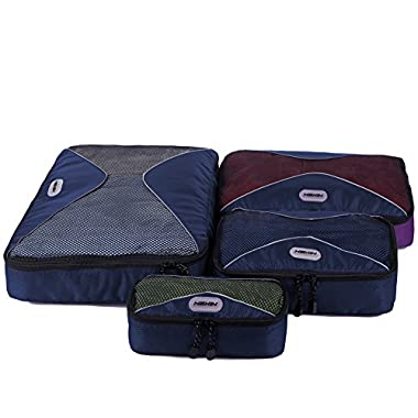Travel Cubes Carry on Luggage 4 pcs Set Packing Organizers for Accessories Dark Blue