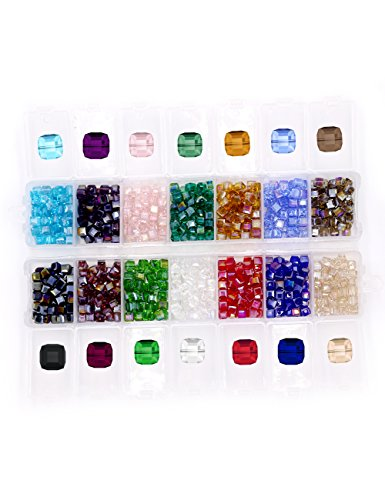 Cube Crystal Glass Beads, Wholesale Crystals Beading ( Similar cut #5601)Faceted Square Shape 4mm Lot 700pcs 14 Colors with Free Container - Beads Lampwork Square