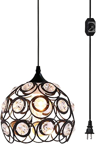 Plug in Crystal Pendant Light, Black Metal Mini Chandelier Light with 13.12ft Cord and On Off Switch, Vintage Hanging Light Fixture Ceiling Lamp for Kitchen Bedroom