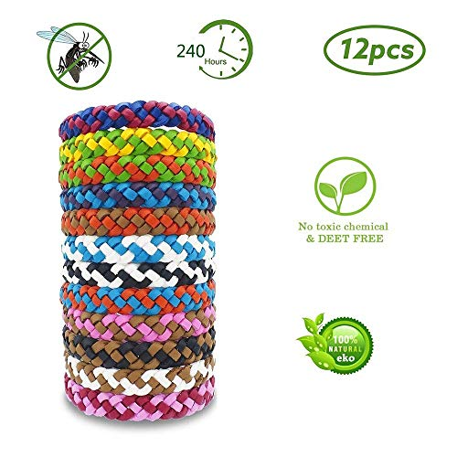 (ZSJZHB Two-Tone Leather Insect Repellent Bracelet, Anti-Mosquito Leather Bracelet, 12-Piece Leather Woven Bracelet, 100% Natural Protection, Suitable for Children/Adults, Indoor Outdoor Camping Hiking)