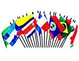 CENTRAL AND SOUTH AMERICA WORLD FLAG SET--20 Polyester 4''x6'' Flags, One Flag for Each Country in Latin America, 4x6 Miniature Desk & Table Flags, Small Mini Stick Flags