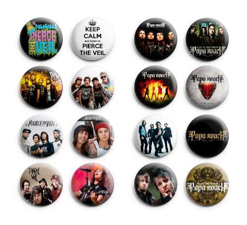 Pierce the Veil / Papa Roach Pinback Buttons 16Pcs 1.25 inch Mix Set