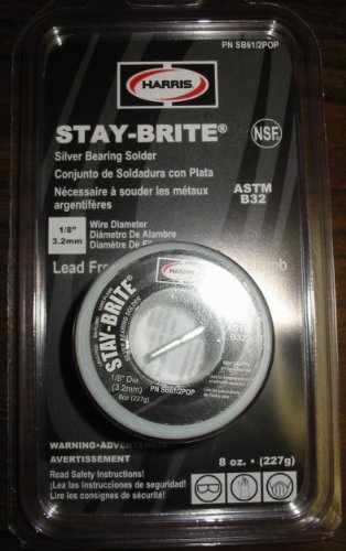 """HARRIS STAY-BRITE SILVER BEARING SOLDER 1/8"""" 8 ounces"""