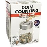 AcosE Digital Coin Counter Jar Piggy Bank Money Pennies Nickles Dimes Quarter Savings Jar Clear Jar w/LCD Display