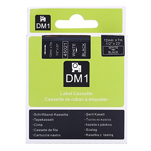 Great Quality White on Black Label Tape Compatible for DYMO D1 45021 S0720610 12mmx7m
