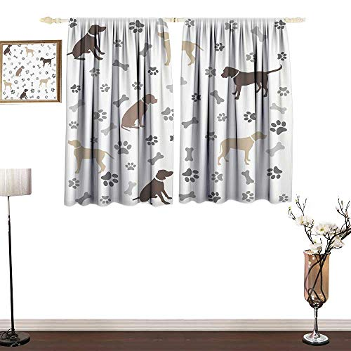 home1love Polyester Curtain Dog Lover Paw Print Bones and Dog Silhouettes American Foxhound Breed Playful Pattern Decor Curtains by W55 ()