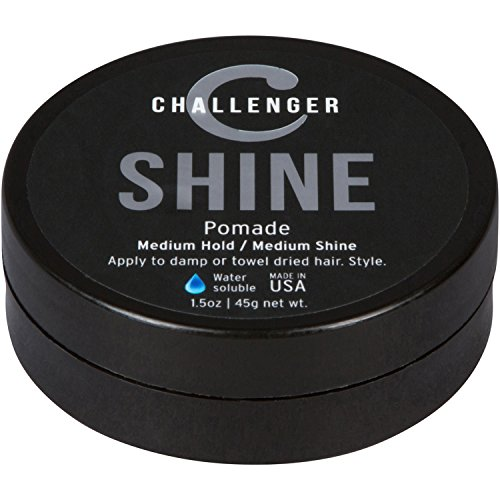 (Shine Pomade - Challenger - 1.5OZ Medium Hold & Shine - Best Men's Styling Pomade - Water Based, Clean & Subtle Scent, Travel Friendly. Hair Wax, Fiber, Clay, Paste, and Cream, All In One)