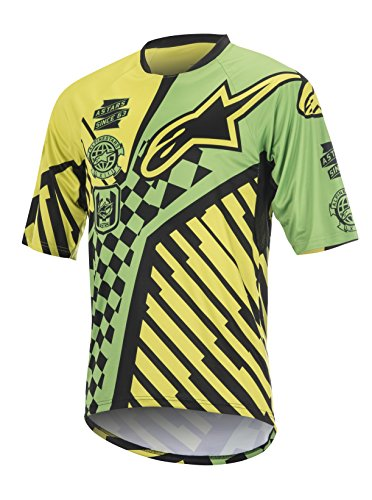 Alpinestars Men's Sight Speedster Short Sleeve Jersey, Bright Green/Acid Yellow, Large