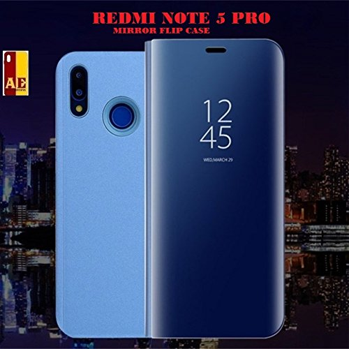 the best attitude 0b242 a7e44 AE MOBILE ACCESSORIES Mirrored Semi Phone S-View Clear Kickstanded Smart  Flip Cover for Xiaomi Redmi Note 5 Pro (Blue)