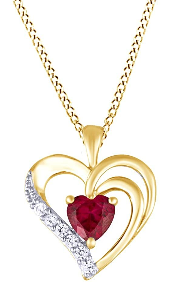 Jewel Zone US Heart Shaped Simulated Ruby /& White Sapphire CZ Heart Pendant /& Chain in 14k Gold Over Sterling Silver