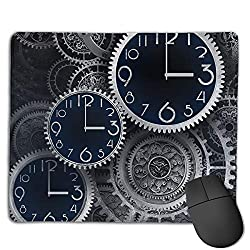 Miniisoul Non-Slip Rubber Base Mousepad for Laptop Computer PC Personality Desings Gaming Mouse Pad Mat (Artistic Clocks Creative Illustration, 8.66 X 7.08 Inch)