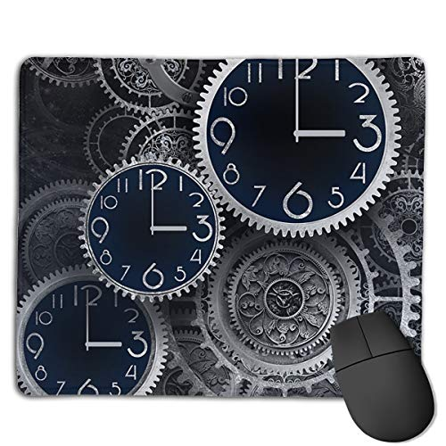 Non-Slip Rubber Base Mousepad for Laptop Computer PC Personality Desings Gaming Mouse Pad Mat (Artistic Clocks Creative Illustration, 8.66 X 7.08 Inch)