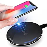 Wireless Charger iPhone X iPhone 8/8 Plus ivolks Cordless CellPhone Rapid Charger Portable QI Fast Charging Stand Pad for Samsung Galaxy S8/S8+/S7/ S7 edge/S6 edge+,Note5 (Round Wireless Charger)