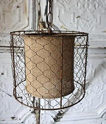 Chicken Wire Burlap Swag Lamp Pendant Light Rustic Antique Vintage ...